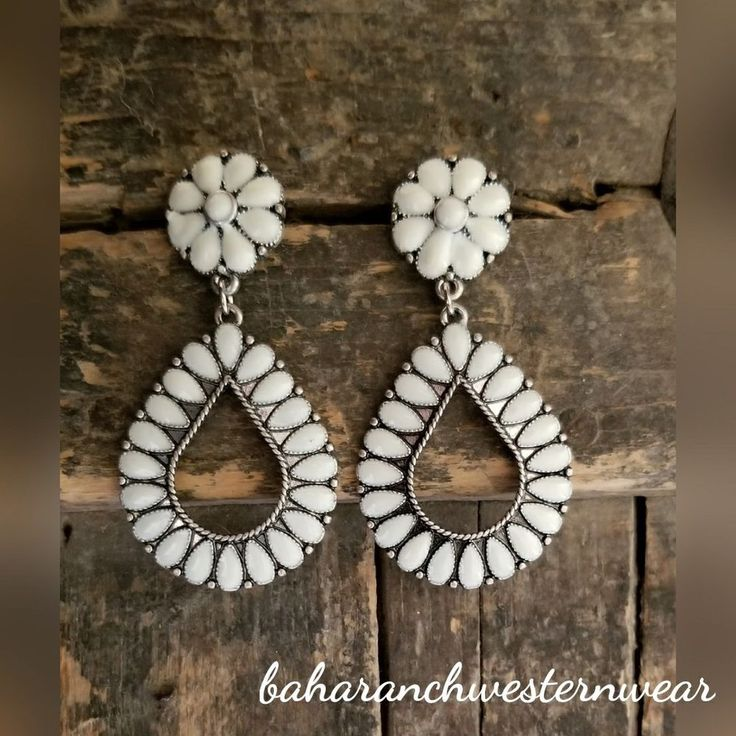 Cowgirl Bling ivory Gypsy EARRINGS silver tone southwestern western #Baharanchwesternwear #wire