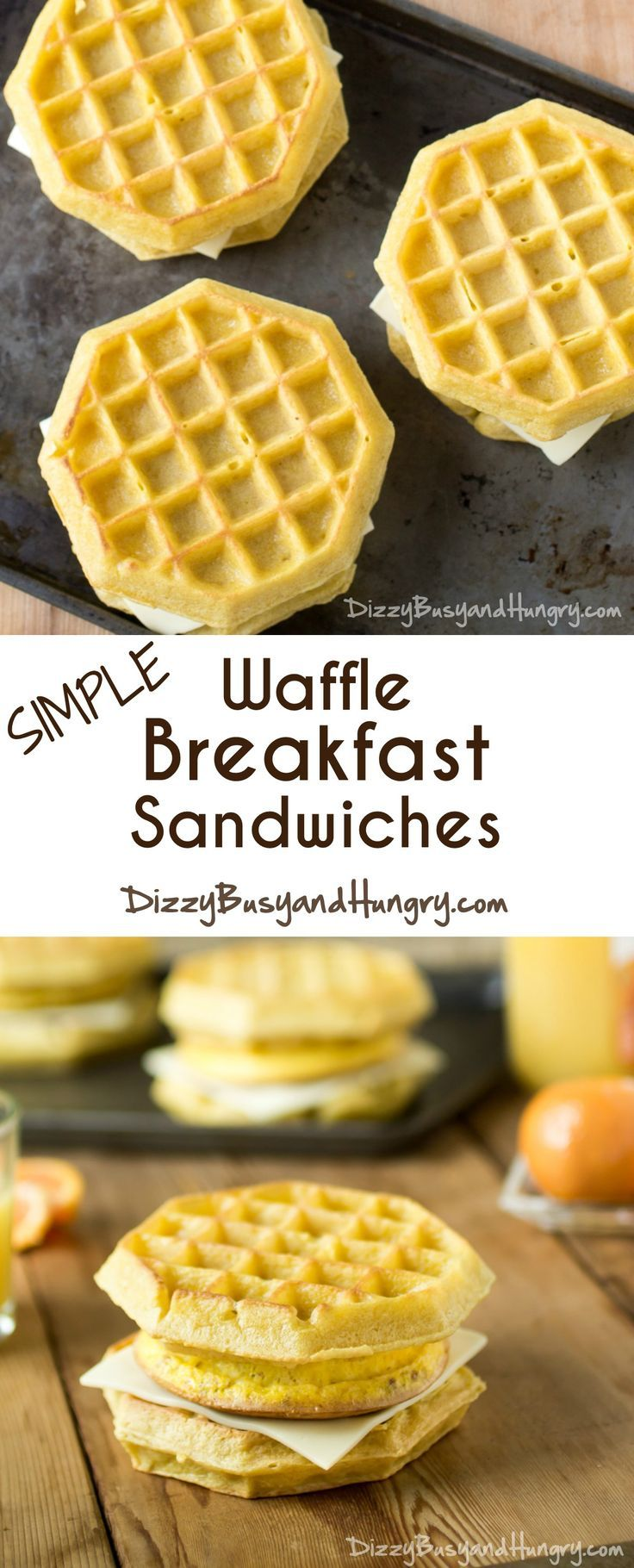 Simple Waffle Breakfast Sandwiches - Easy to assemble on busy mornings, and tastier than frozen versions! http://www.dizzybusyandhungry.com/simple-waffle-breakfast-sandwiches/