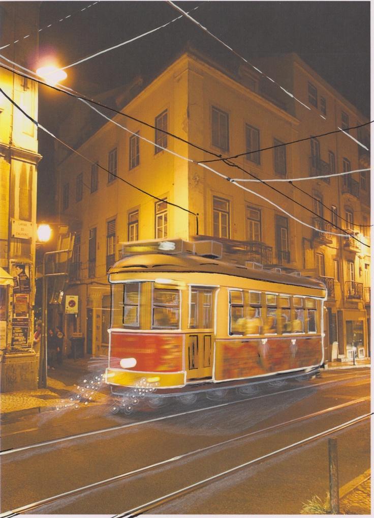 Alexandre Désilets. Collage. Photography+ Illustration: Ariane Charbonneau #album #artwork #music #montreal #tramway #portugal #lisbon #drawing