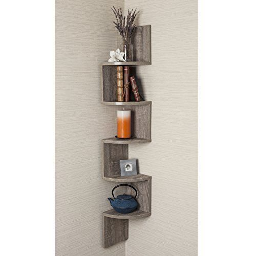Home Decoration Rustic Weathered Oak Laminate Corner Wall Mount Shelf Decor NEW #HomeDecor