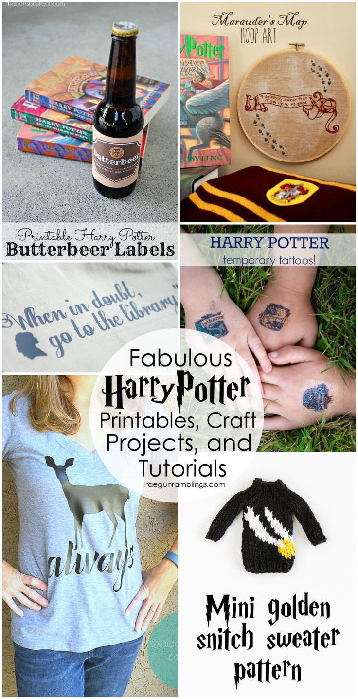 Lots of awesome Harry Potter printables, tutorials, free patterns and more