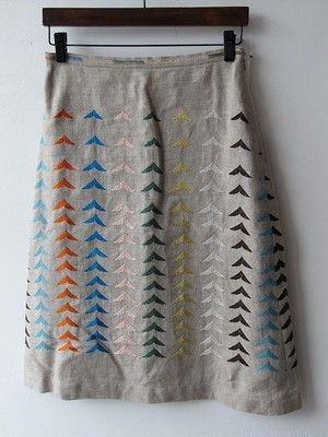 Arrow design skirt by Mina Perhonen; love the colored printing on natural linen