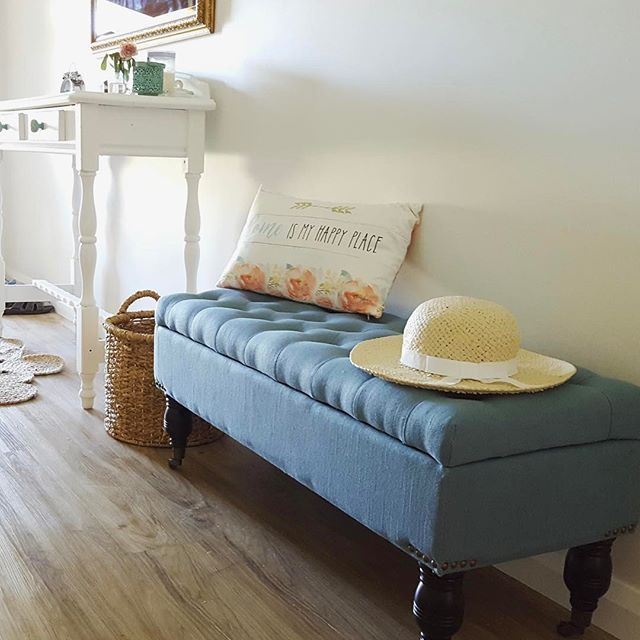 Another happy customer with a Happy Home, the beautiful Teal Sophie Storage Bench sitting pretty in the entrance way, Thank you for sharing #entry #bench #shoes #storage #sitting #pretty #teal #fabric #upholstered #benchseat #happy #home #lovemyblackmango