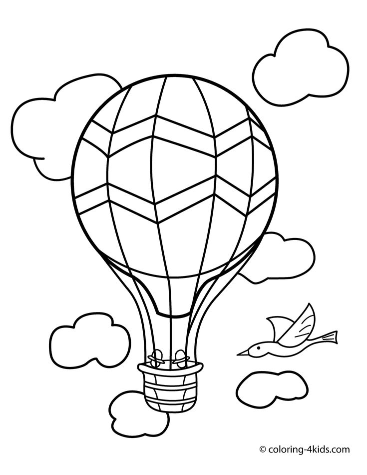 Balloon transportation coloring pages aerostat for kids