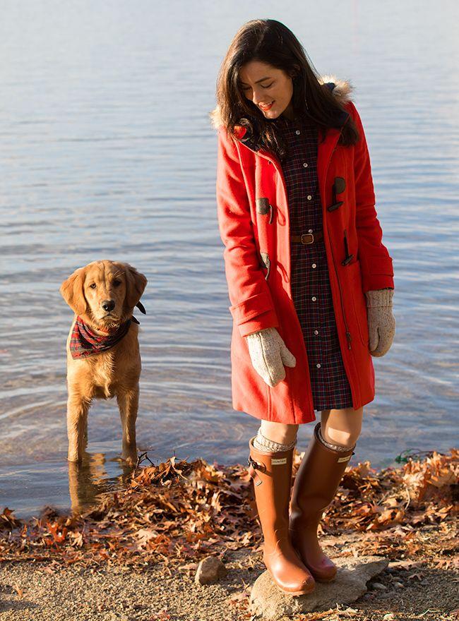 Sarah Vickers wearing Hunter Original Tall Rain Boots on ClassyGirlsWearPearls.com