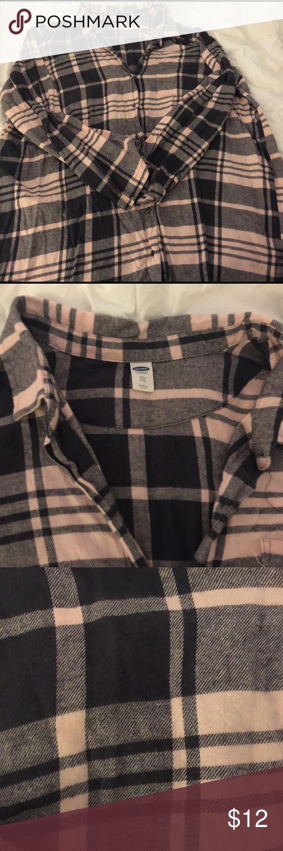 Old Navy XXL Flannel Tunic shirt, size XXL Old Navy Tunic Shirt. Worn only once. Washed and hung to dry. Blue and light pink flannel. Super soft & comfy. Size XXL Old Navy Tops Tunics
