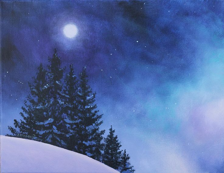 Aurora Borealis Winter Painting  - Aurora Borealis Winter Fine Art Print                                                                                                                                                                                 もっと見る