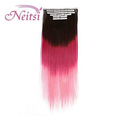 """neitsi 20 """"nastro 50g 20pcs nelle estensioni dei capelli trama di pelle pu capelli umani t2 diritto / rosa / colore rosa – EUR € 23.75"""