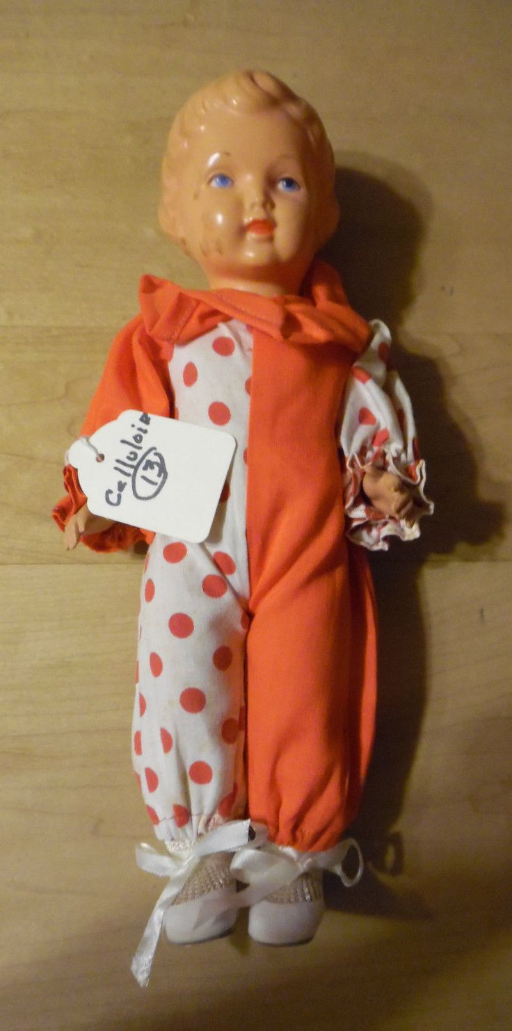 cute Turtle mark Celluoid doll dressed in red/white clown suit
