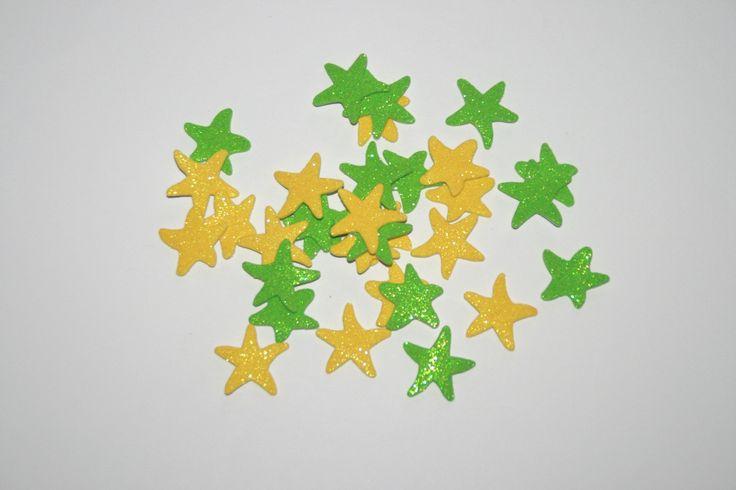 GOMMETTES Mousse Etoiles de mer vert et jaune pailletés : Gommettes, autocollants enfants par boutique-creative-by-c-dona