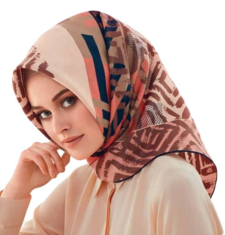 Armine Fall 2016 ~ Winter 2017 Collection Product #7562: Pink and brown scarf with square and plaid pattern Turkish Designer silk scarf 100% Pure Silk Silk Satin weave Read here about the qualities of