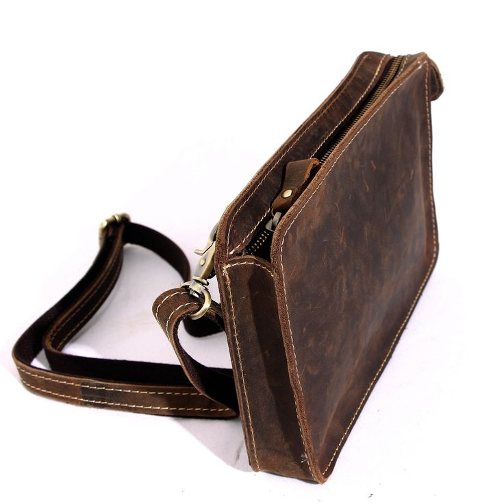 Men Leather Cross Body Messenger Bag Vintage Style Bag For iPad Q005 - Thumbnail 3