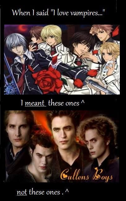 I Vampire Knight's hot vampires, not Twilight emo vampires.  Twilight was a really good stories, but their vampire were lame.  At least in the movies.  Never read the books.