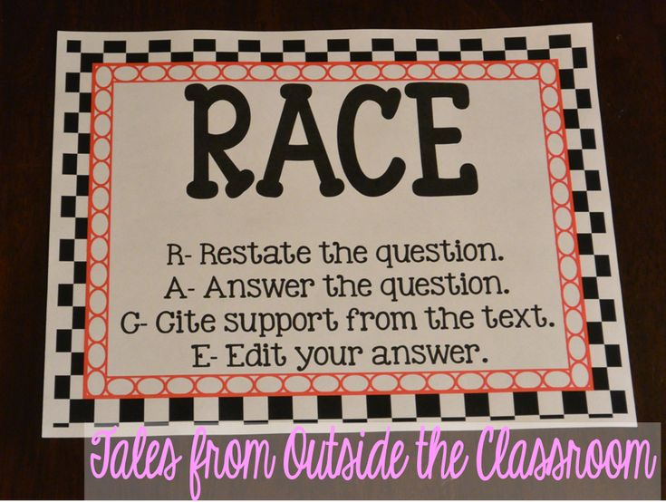 RACE- An acronym for having kids restate the question in their answers