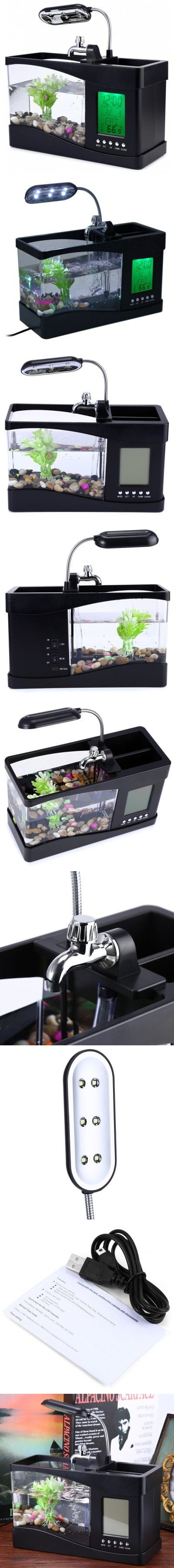 Mini USB LCD Desktop Lamp Fish Tank Light Aquarium LED Clock -$40.36
