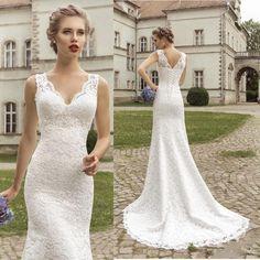 2015 Simple Classic Delicate V Neck Sheer Lace Slim Wedding Dresses With Straps Lace Up Back Mermaid Fit Sweep Train Beach Bridal Gowns Wedding Dress Designers Wedding Dresses 2015 From Honey_kiss, $158.12| Dhgate.Com