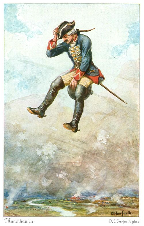 Muenchhausen Herrfurth  - Postcard Illustrations by Oskar Herrfurth - Wikimedia Commons PUBLIC DOMAIN