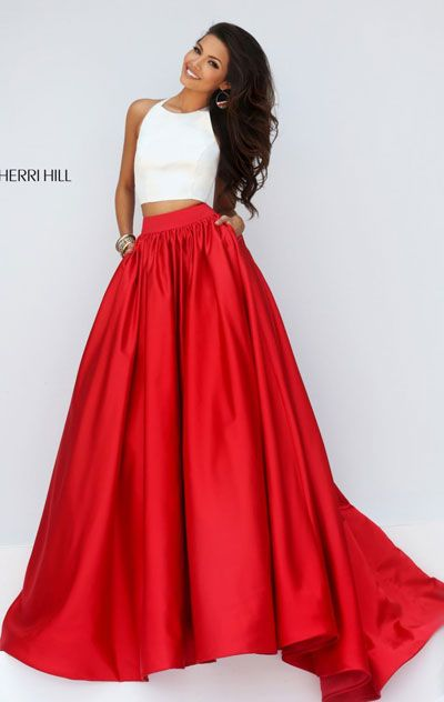 2016 Scoop-Neck Ivory/Red Two-Piece Sherri Hill 50134 Long Prom Dresses