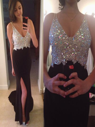 Two pieces prom dress, Beaded prom dress, Glitter prom dress, Spaghetti Straps dress, Graduation dress, A-line Floor-Length prom dress. PD2123