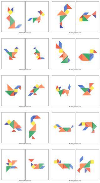 Not Pattern Blocks – but Tangram Preprints!  Voorbeeldkaarten bij het thema…
