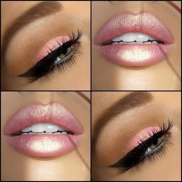 Phenomenal Baby Pink Glossy Lips And Eye Makeup #makeup #christmasmakeup #makeupideas #christmasmakeupideas #eyemakeup
