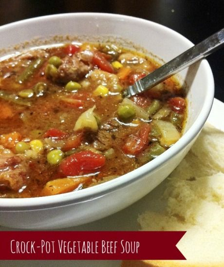 Crock Pot Vegetable Beef Soup - Tap the image to watch more veggies slow cooked recipes