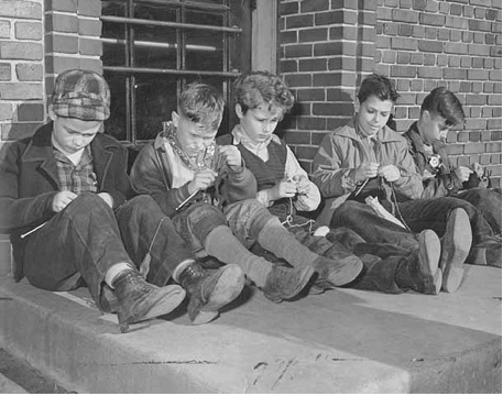 """""""When my dad grew up in Switzerland, he used to knit on the train because it was 'rebellious'. Glad to see he's not the only one.""""    1941: Boys knitting at Groveland School, St. Paul, Minnesota. St. Paul Dispatch & Pioneer Press"""