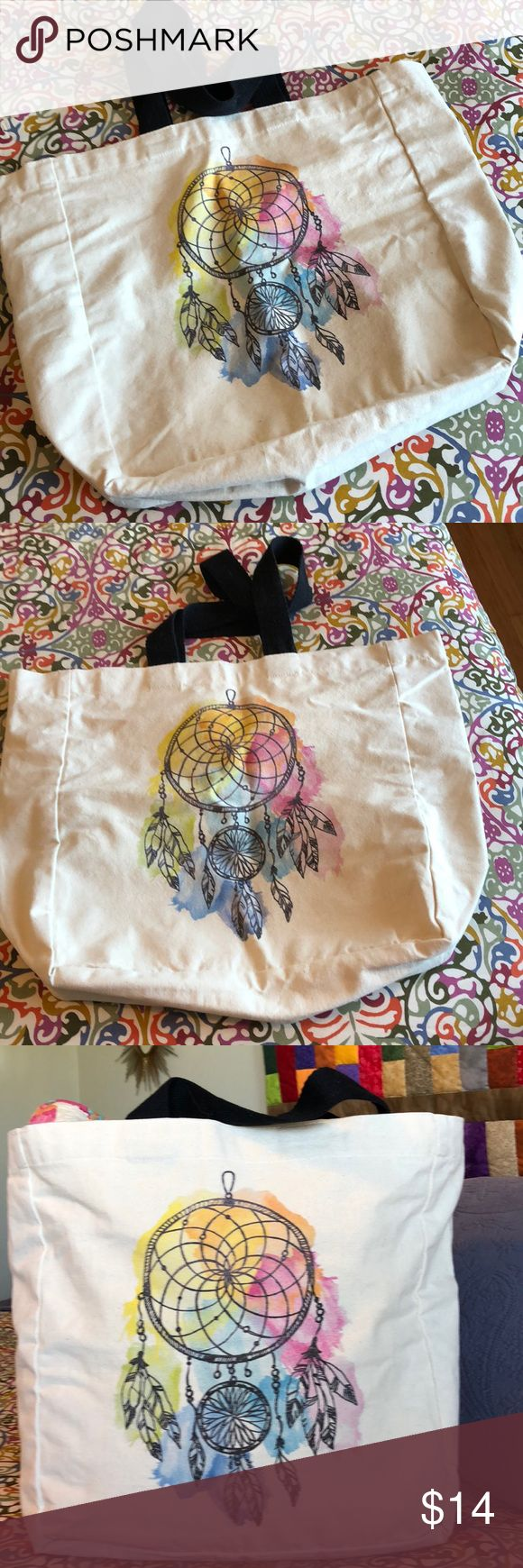Dream catcher canvas tote! NWOT Off white canvas tote with black woven handles  Dream catcher design on both sides Very roomy, never used Bags Totes