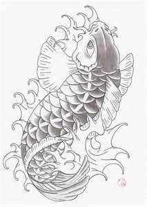 Black And Grey Fish Drawing Of Koi Tattoo Art