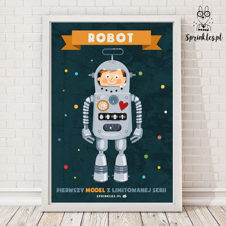 Kids wall decor, nursery wall decor, posters. Robot.