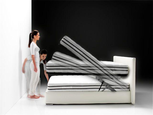 Il magico meccanismo che solleva il piano del letto con facilita' e senza rubare spazio