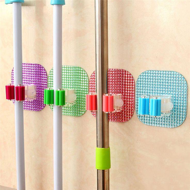 Keuken Wandmontage Mop Rack Badkamer Opslag Mop Bezem Houder 6 Kleur 1 Stks