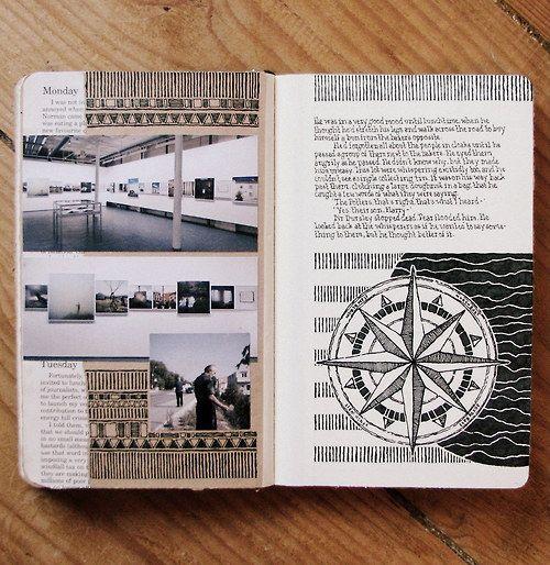 Moleskine 03, #023 by Rebecca Blair...compass rose