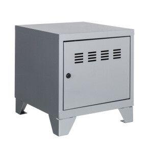 Tavolo basso 1 anta   Pierre Henry - grigio metallizzato   40 x 40 x 36,5 cm (L x p x alt)