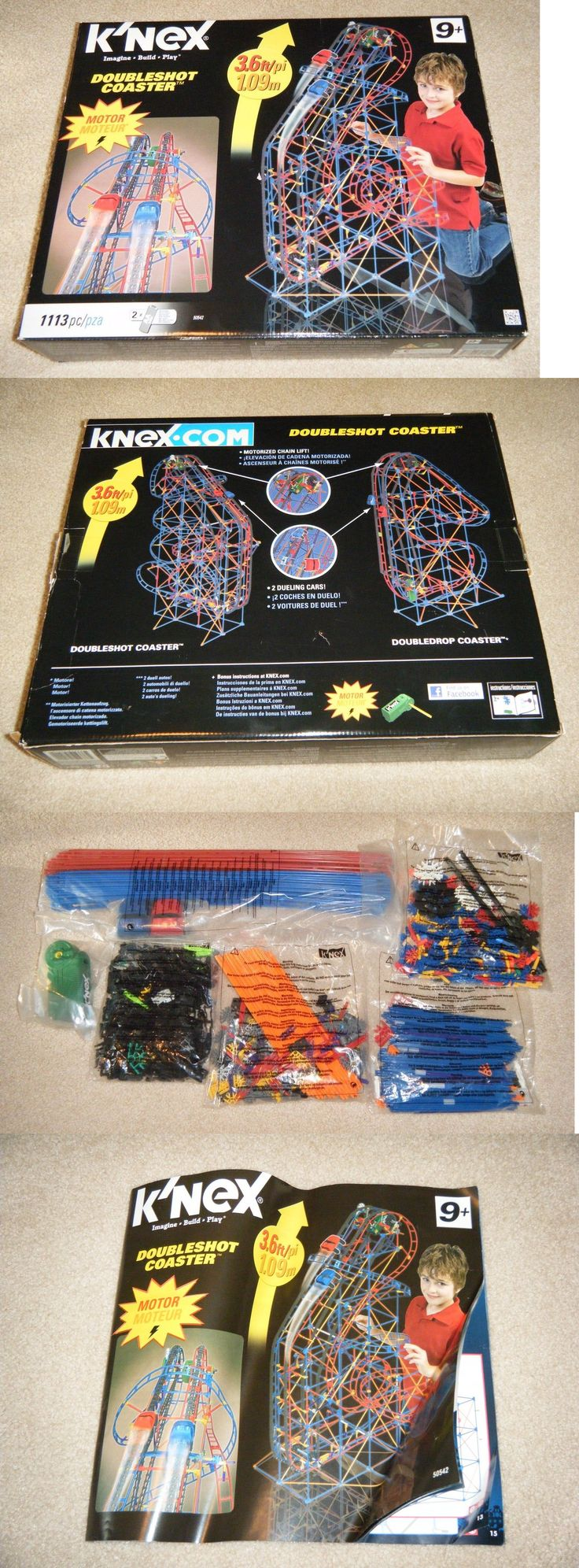 KNEX 21254: New - Open Box K Nex Doubleshot Roller Coaster Theme Park Ride Knex 3Ft Motor -> BUY IT NOW ONLY: $60 on eBay!