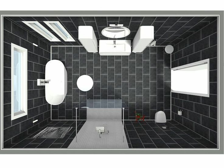 Aerial view for 3d floor plan a modern airy oasis for Plan your bathroom 3d