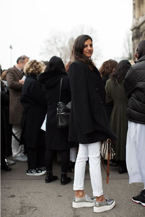 silver platform loafers, white pants, black peacoat. OUTFIT!