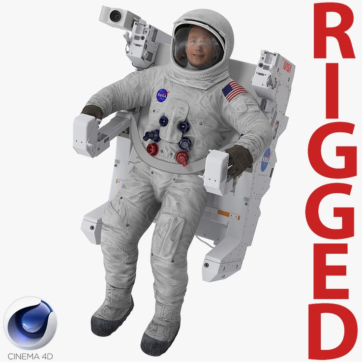 3D Astronaut in Spacesuit A7L with Manned Maneuvering Unit Rigged for Cinema 4D