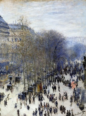 So often I have stood, admiring this, one of my favorite Monet paintings anywhere. Often awestruck, and in part because it is in my 'hometown' museum, the Nelson-Atkins in Kansas City.     Boulevard des Capucines is an oil-on-canvas street scene painting of Boulevard des Capucines by French Impressionist artist Claude Monet created in 1873.