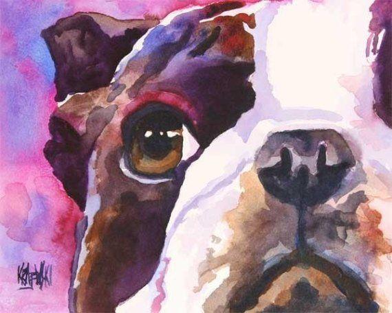 Boston Terrier Art Print of Original Watercolor by dogartstudio, $24.50