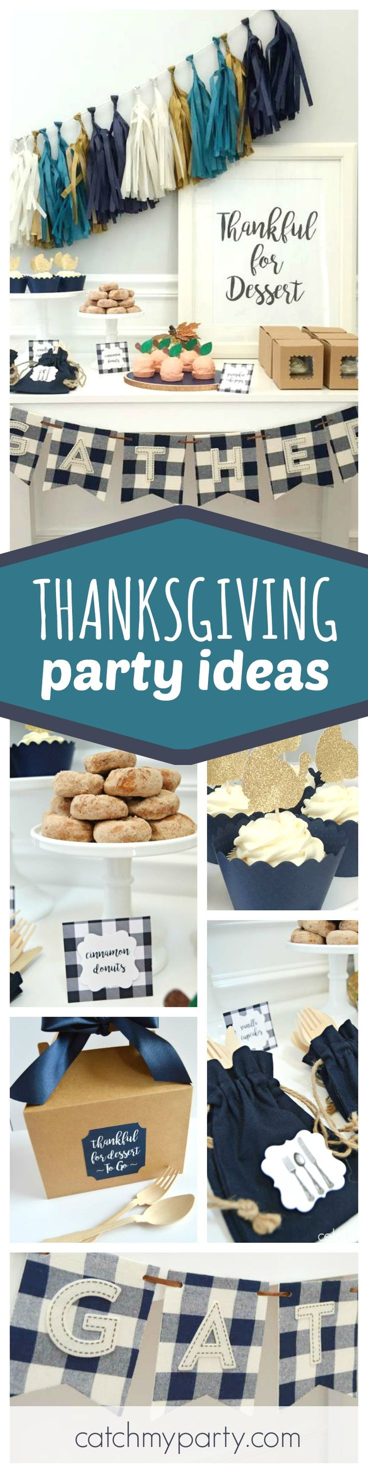 Take a look at this great Thanksgiving dessert table! You're gonna love the sparkly turkey toppers! See more party ideas and share yours at CatchMyParty.com