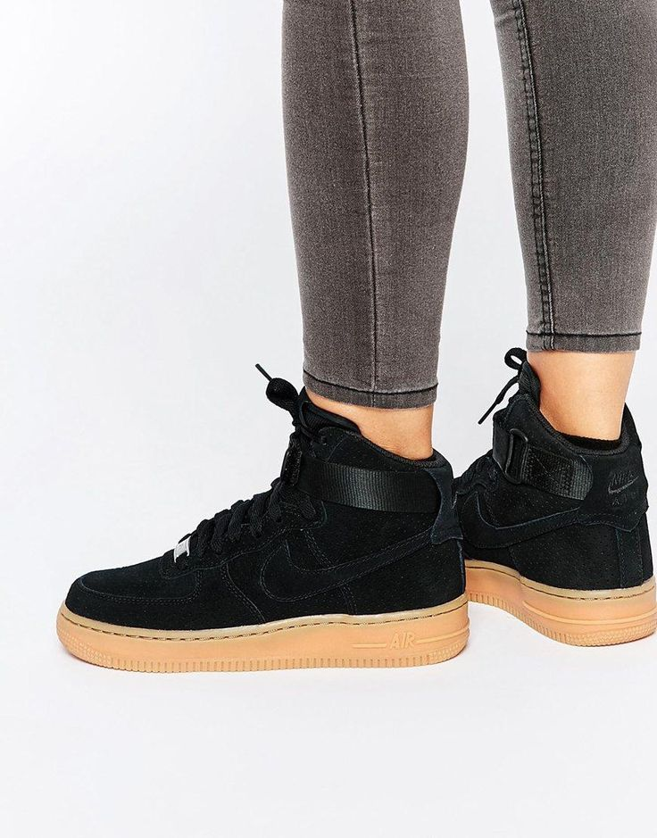 Nike Air Force 1 Black Suede Gum
