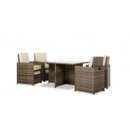 Barcelona Square Compact Table w/ 4 Fold-Out Chairs and 4 Individual Ottoman Patio Set -