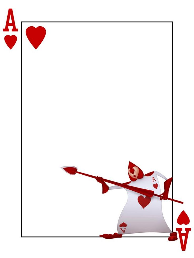 Journal card playing card ace of hearts alice in for Alice in wonderland card soldiers template