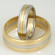 Wedding rings gents and ladies platinum and 18ct yellow gold