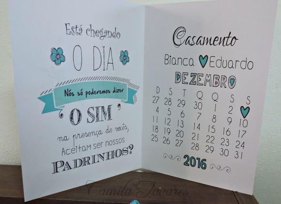 Convite de Padrinhos/ Azul Turquesa