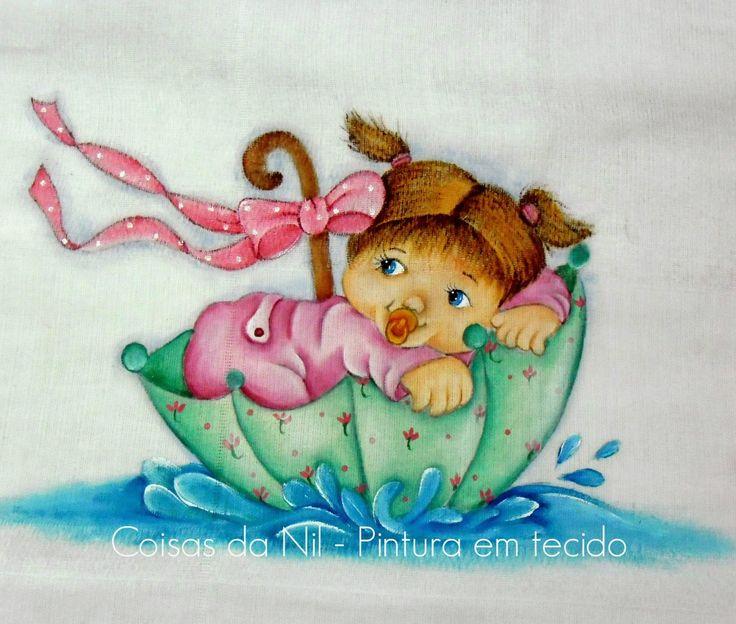 Coisas da Nil - Pintura em tecido: Brincando na chuva...