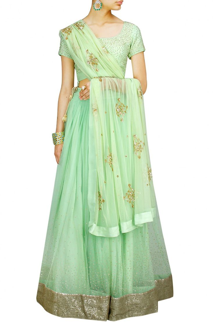 Mint Green Scattered Sequin #Lehenga By Prathyusha Garimella. Available Only At Pernia's Pop-Up Shop.