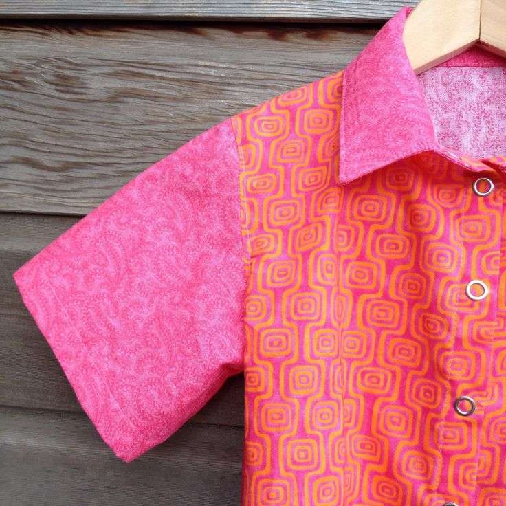 Girls retro bowling shirt / Pink and orange hipster shirt / funky pink party shirt / rockabilly shirt / Made to order by LittleFieldBirch on Etsy