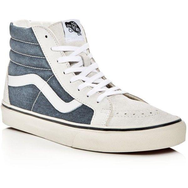 Vans Sk8-Hi Vintage High Top Sneakers ($70) ❤ liked on Polyvore featuring men's fashion, men's shoes, men's sneakers, mens navy blue suede shoes, mens white shoes, mens white high top sneakers, mens white high top shoes and mens white sneakers